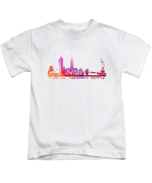 New York City Skyline Purple Kids T-Shirt by Justyna JBJart