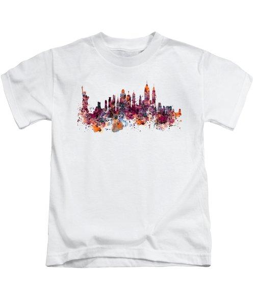 New York Skyline Watercolor Kids T-Shirt