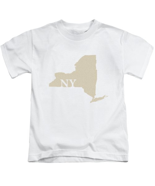 New York State Map With Text Of Constitution Kids T-Shirt