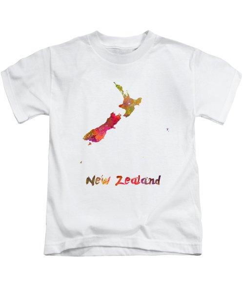 New Zealand In Watercolor Kids T-Shirt by Pablo Romero