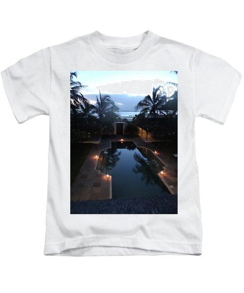 North - Eastern African Home - Sundown Over The Swimming Pool Kids T-Shirt by Exploramum Exploramum