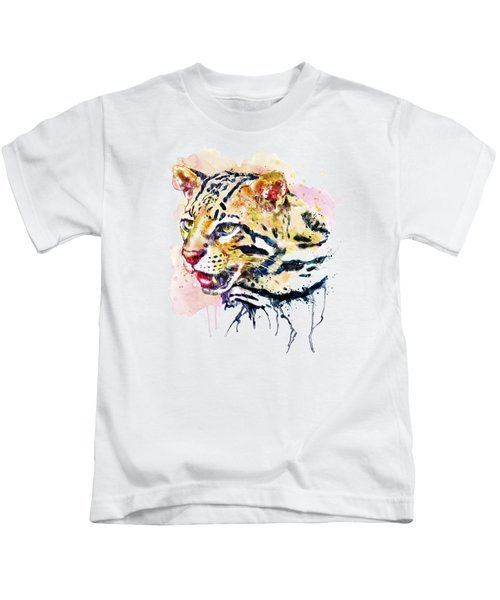 Ocelot Head Kids T-Shirt by Marian Voicu