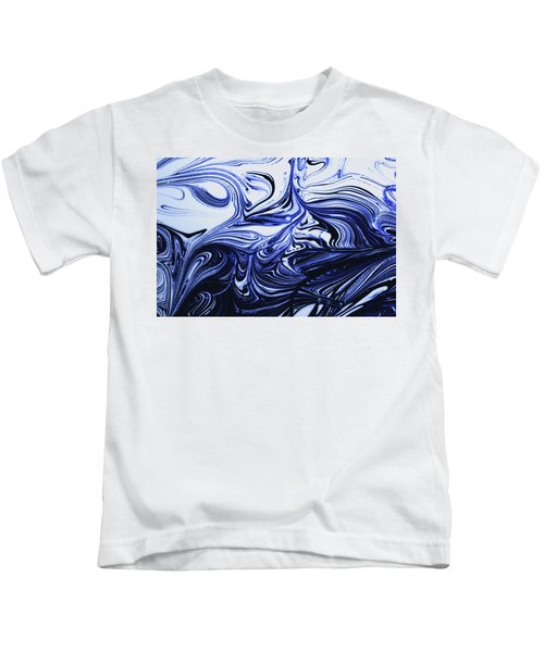 Oil Swirl Blue Droplets Abstract I Kids T-Shirt