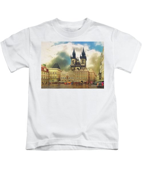 Old Town Square Prague In The Rain Kids T-Shirt