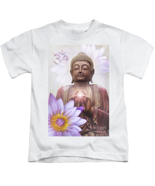 Om Mani Padme Hum - Buddha Lotus Kids T-Shirt