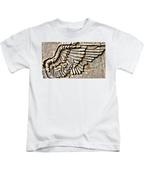 Kids T-Shirt featuring the painting On Angels Wings by Marian Palucci-Lonzetta