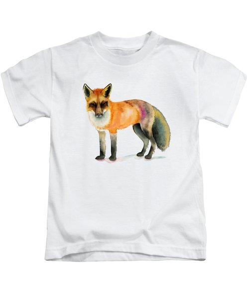 Orange Fox Watercolor Painting Kids T-Shirt