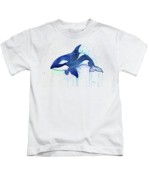 Orca Whale Watercolor Killer Whale Facing Right Kids T-Shirt