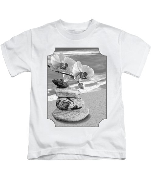 Orchids And Pebbles On The Sand In Black And White Kids T-Shirt