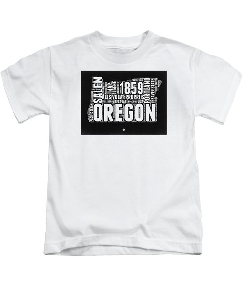 Oregon Black And White Map Kids T-Shirt by Naxart Studio