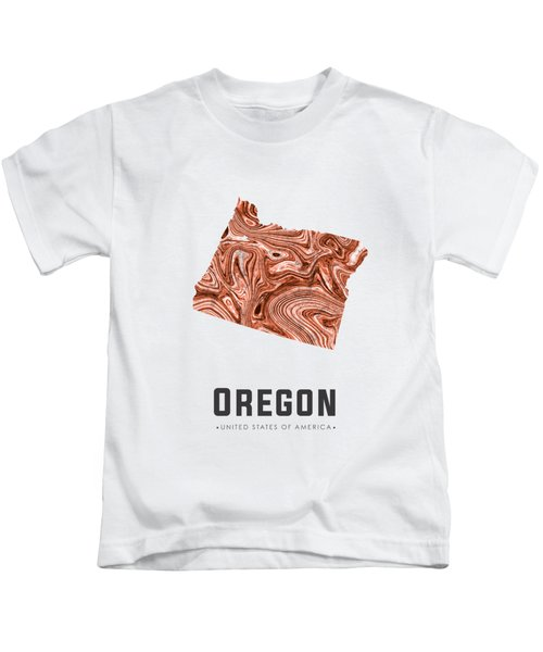 Oregon Map Art Abstract In Brown Kids T-Shirt