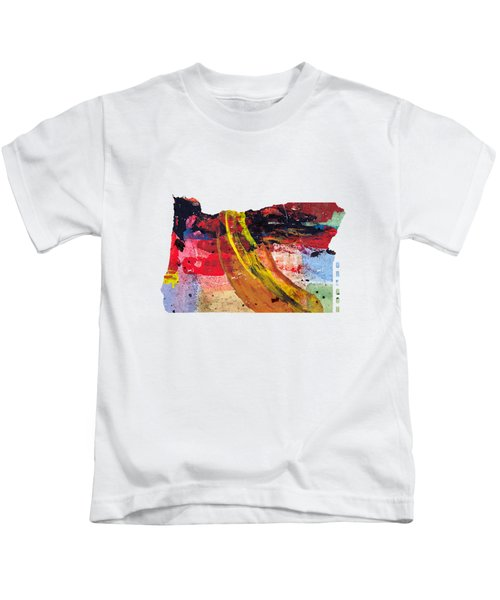 Oregon Map Art - Painted Map Of Oregon Kids T-Shirt by World Art Prints And Designs