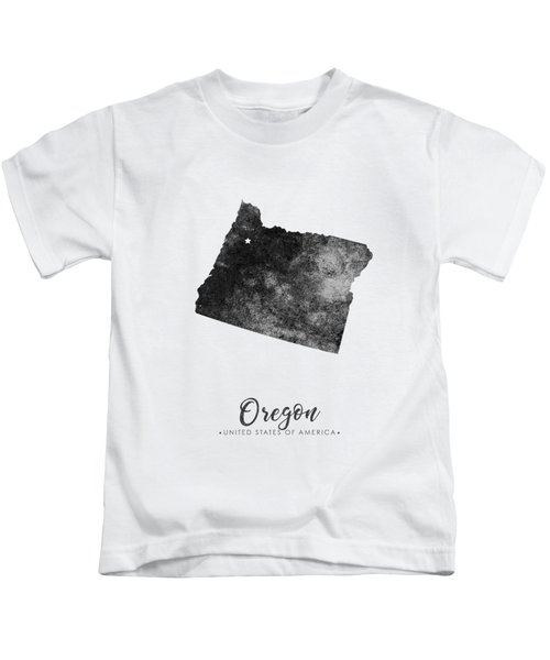 Oregon State Map Art - Grunge Silhouette Kids T-Shirt
