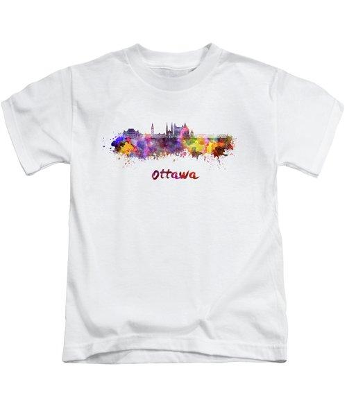 Ottawa V2 Skyline In Watercolor Kids T-Shirt