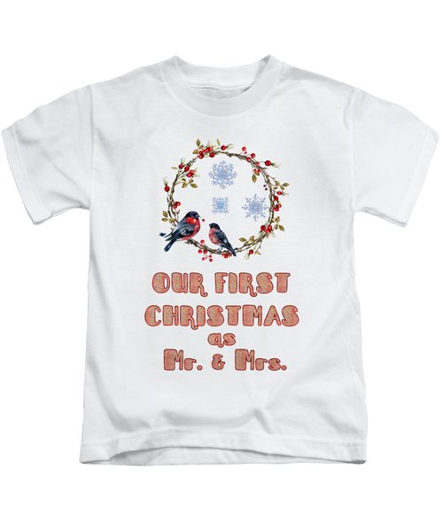 Our First Christmas Watercolor Bullfinches Kids T-Shirt