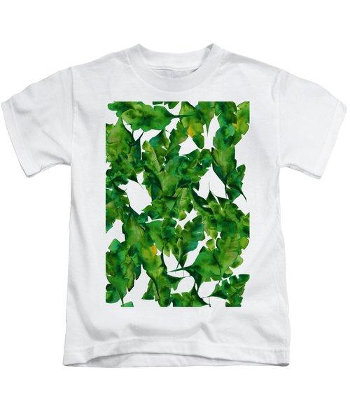 Overlapping Leaves Kids T-Shirt by Cortney Herron