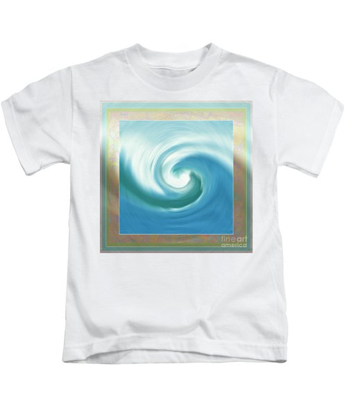 Pacific Swirl With Border Kids T-Shirt