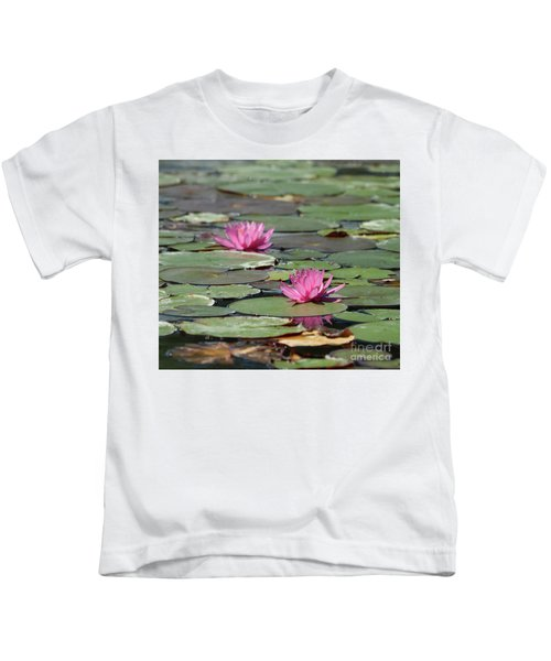 Pair Of Pink Pond Lilies Kids T-Shirt