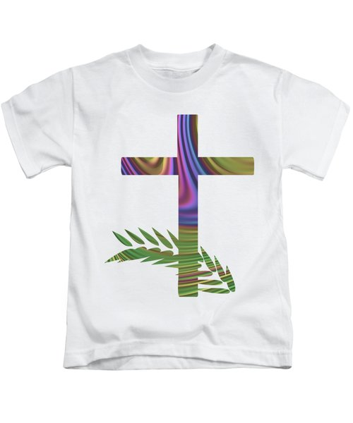 Palm Sunday Cross With Fractal Abstract Kids T-Shirt