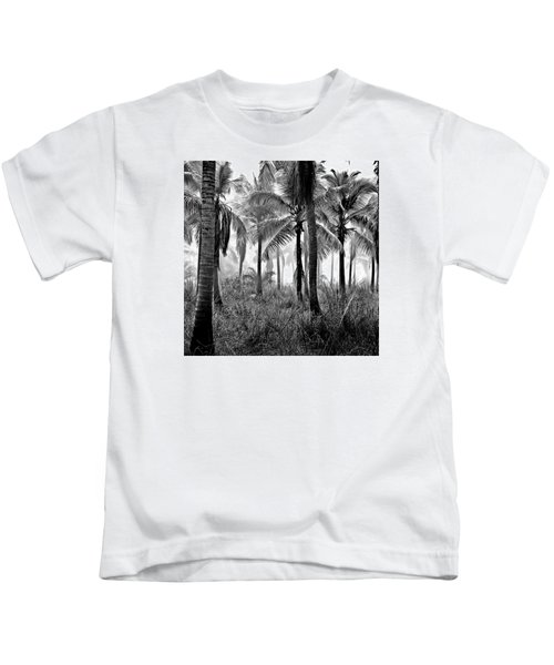 Palm Trees - Black And White Kids T-Shirt