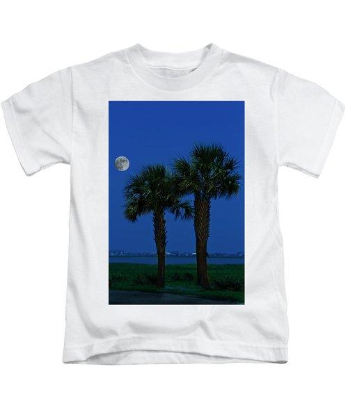 Palms And Moon At Morse Park Kids T-Shirt