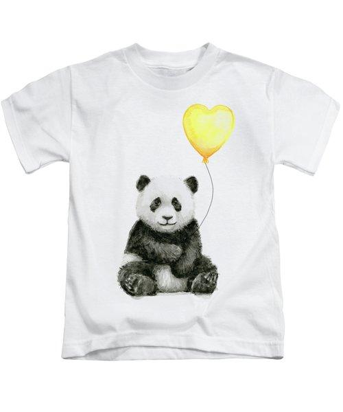 Panda Baby With Yellow Balloon Kids T-Shirt