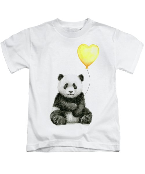 Panda Baby With Yellow Balloon Kids T-Shirt