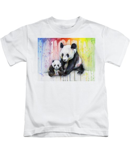 Panda Watercolor Mom And Baby Kids T-Shirt