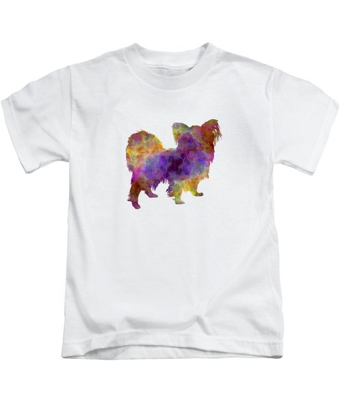 Papillon In Watercolor Kids T-Shirt by Pablo Romero
