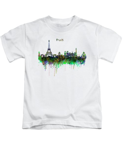Paris Skyline Watercolor Kids T-Shirt by Marian Voicu