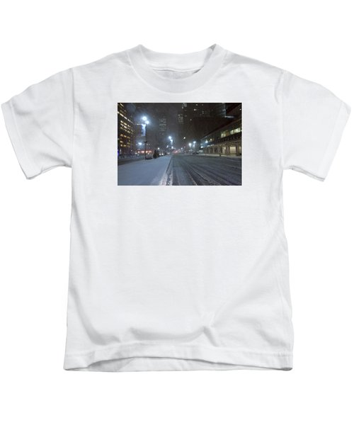 Park Avenue Near Lever Building In Snow Storm Late Night Kids T-Shirt