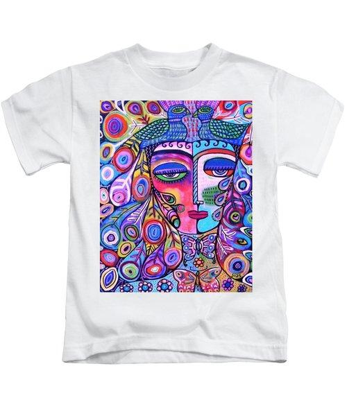 Peacock Pink Butterfly Goddess Kids T-Shirt