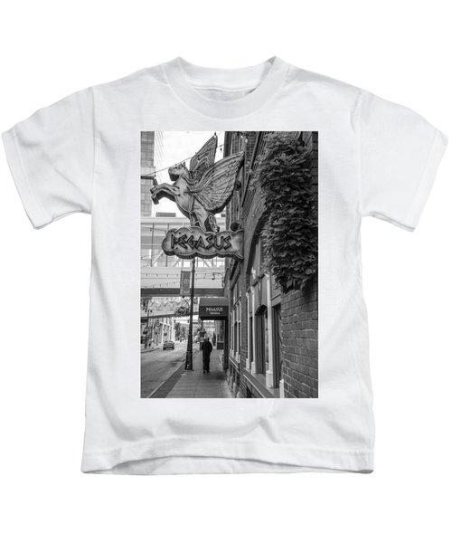 Pegasus In Detroit Black And White  Kids T-Shirt