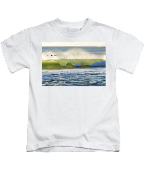 Pelican Flying Over Wind Wave Kids T-Shirt
