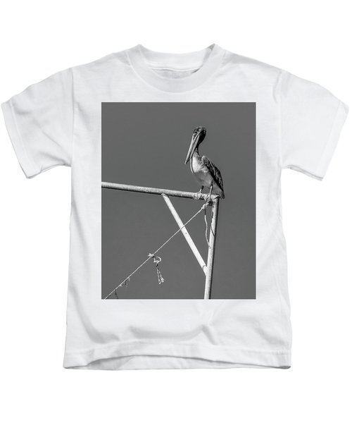Pelican In Black And White Kids T-Shirt