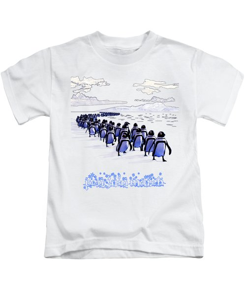 Penguin March Kids T-Shirt by Methune Hively