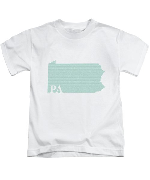 Pennsylvania State Map With Text Of Constitution Kids T-Shirt