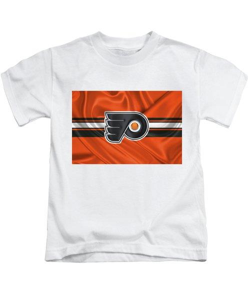 Philadelphia Flyers - 3 D Badge Over Silk Flag Kids T-Shirt by Serge Averbukh