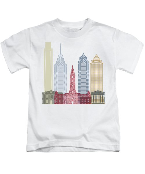 Philadelphia Skyline Poster Kids T-Shirt by Pablo Romero