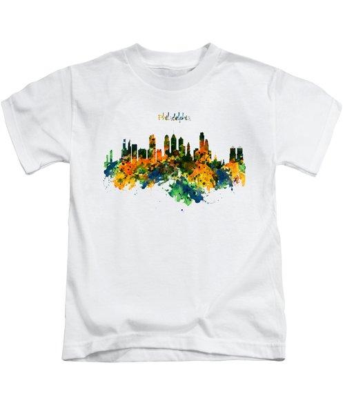 Philadelphia Watercolor Skyline Kids T-Shirt by Marian Voicu