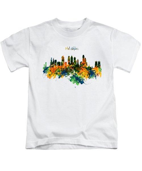 Philadelphia Watercolor Skyline Kids T-Shirt