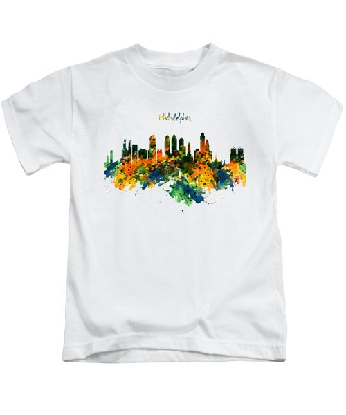 Philadelphia Watercolor Skyline Kids T-Shirt