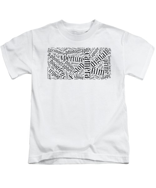 Photography Word Cloud Kids T-Shirt by Edward Fielding