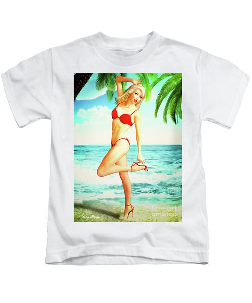 Pin-up Beach Blonde In Red Bikini Kids T-Shirt