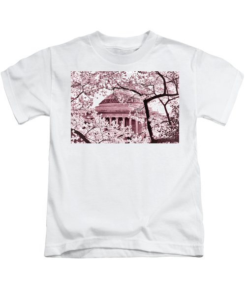 Pink Cherry Trees At The Jefferson Memorial Kids T-Shirt
