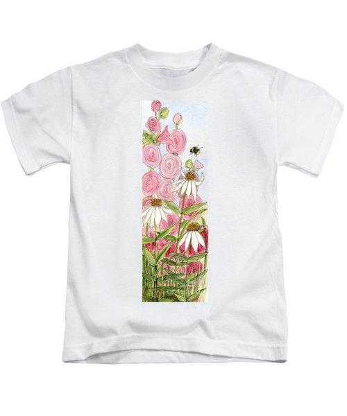 Pink Hollyhock And White Coneflowers Kids T-Shirt