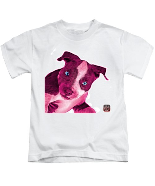 Pink Pitbull Dog Art 7435 - Wb Kids T-Shirt