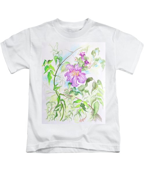 Pink Trumpet Vine Kids T-Shirt