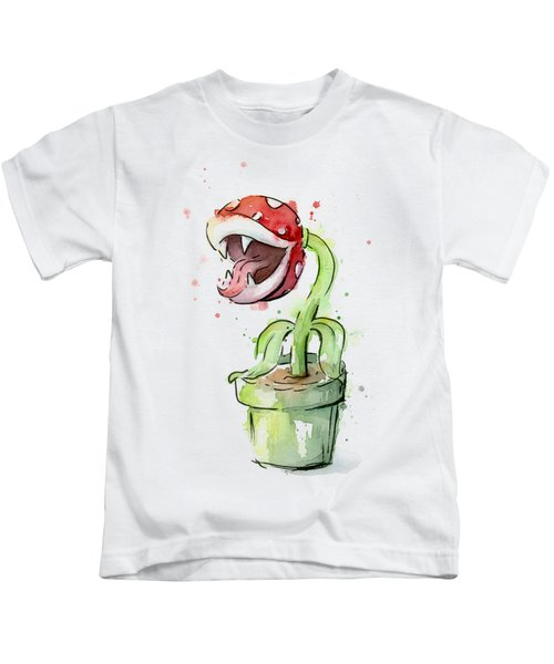 Piranha Plant Watercolor Kids T-Shirt
