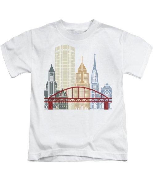 Pittsburgh V2 Skyline Poster Kids T-Shirt